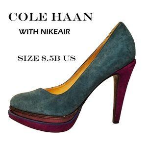Cole Haan Nikeair Suede Geometric Sole Pumps 8.5